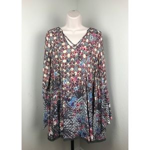 Umgee Bell Sleeve Floral Tunic Dress